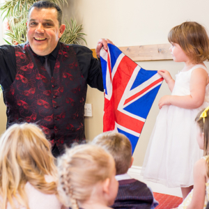 Yes I perform magic for weddings too, here I am in sunny Surrey making magic memories with the children